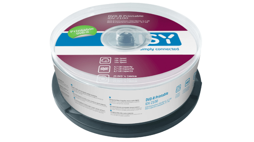 ISY IDV-2100 DVD-R 25er Spindel Printable, DVD-R