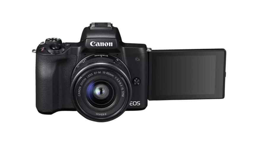 CANON EOS M50 Kit Systemkamera 24.1 Megapixel mit Objektiv 15-45 mm , 7.5 cm Display   Touchscreen, WLAN