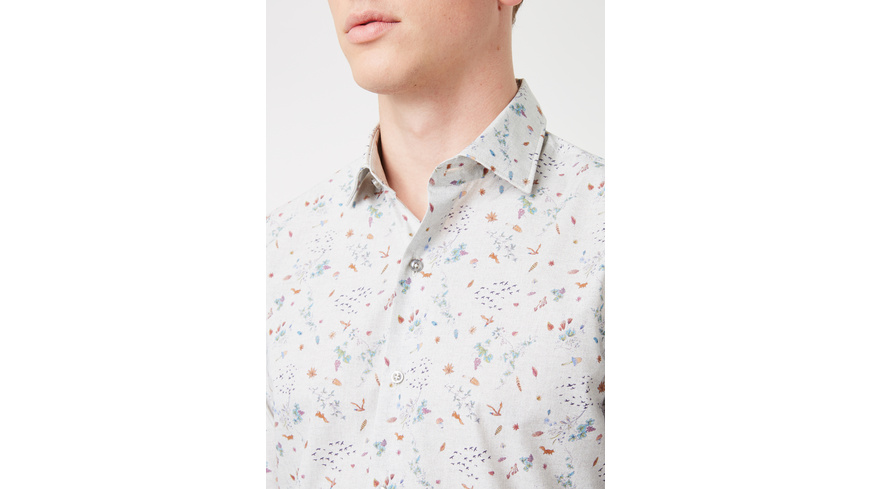 Hemd mit Waldmotiv - Slim Fit