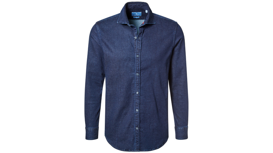 Jersey Hemd im Indigo Denim Look - Slim Fit