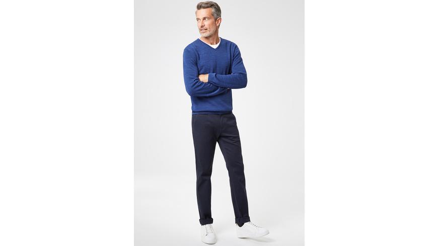 V-Neck Pullover in Doubleface-Optik - Regular Fit