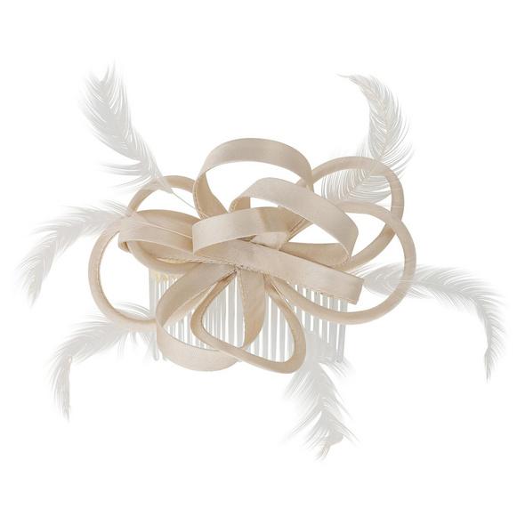 Fascinator - Cream Feather