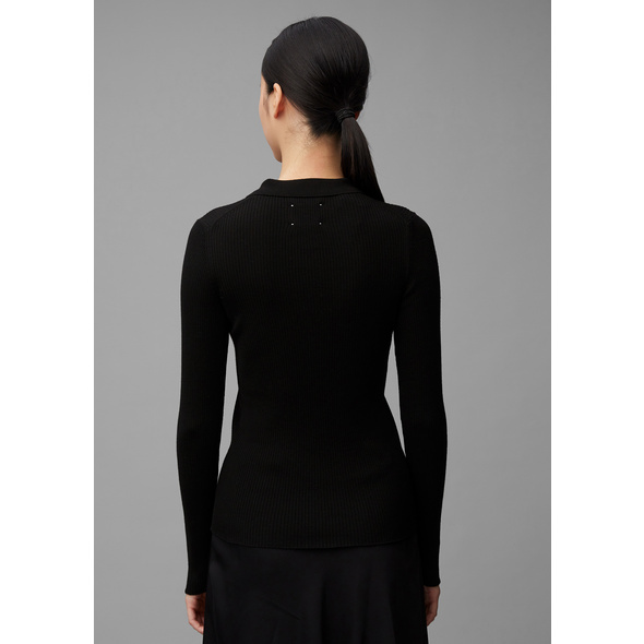 Strick-Langarm-Poloshirt