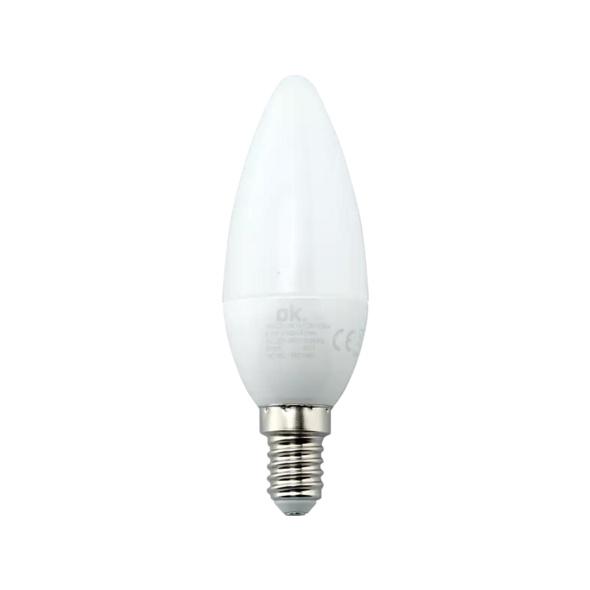 OK. OKLED-AE14-C35-5.8W  LED-Lampe, Weiß