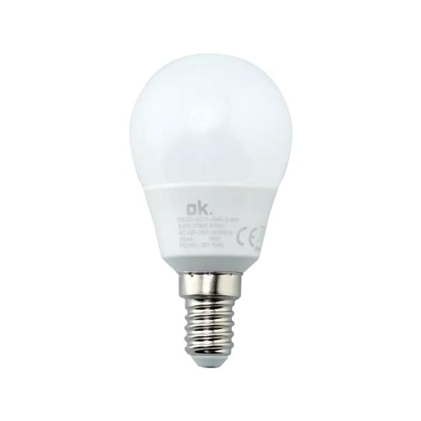 OK. OKLED-AE14-G45-5.8W LED-Lampe, Weiß