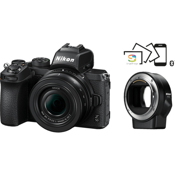NIKON Z 50 Kit mit FTZ Adapter Systemkamera 20.9 Megapixel mit Objektiv 16-50 mm , 8 cm Display   Touchscreen, WLAN