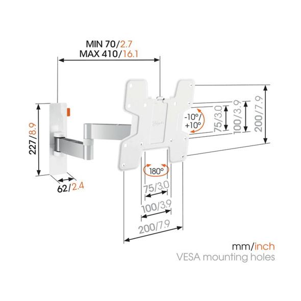 VOGEL´S WALL 3145 TV-Wandhalterung für 48-102 cm (19-40 Zoll) Fernseher, drehbar und neigbar, Wandhalterung, max. 40 Zoll, Schwenkbar, Neigbar, Weiß