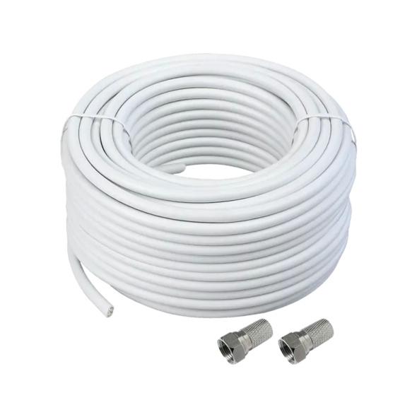 SCHWAIGER SAT Koaxialkabel (115 dB) mit F-Steckern Kabel, Weiß