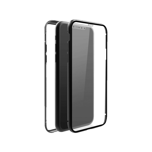 BLACK ROCK 360° Glass Handyhülle, Apple iPhone X, iPhone XS, Schwarz/Transparent