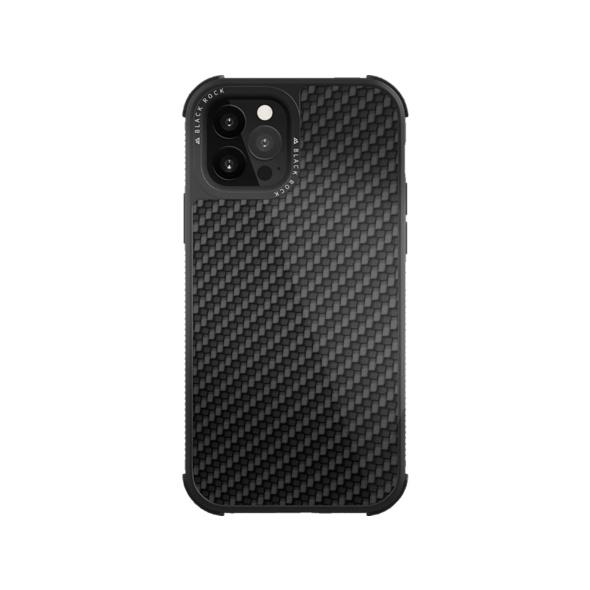 BLACK ROCK Robust Real Carbon Handyhülle, Apple iPhone 12/12 Pro, Schwarz