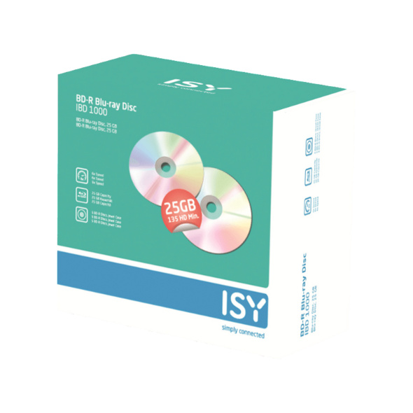 ISY IBD-1000 BD-R 5er Pack Jewelcase, Blue-ray Disc
