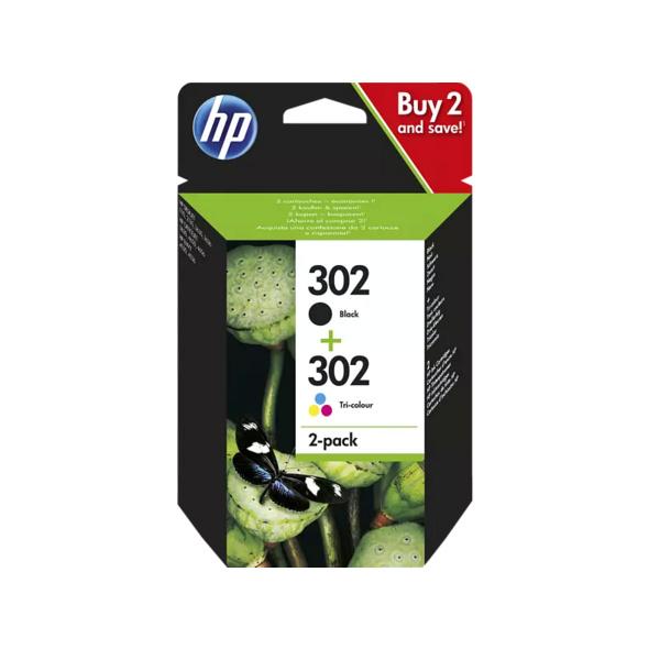 HP 302 Tintenpatrone 2er-Pack Schwarz/Cyan/Magenta/Gelb (X4D37AE)