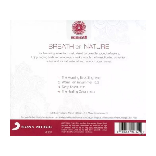 Davy Jones - entspanntSEIN - Breath Of Nature (Relaxing Music For Inner Balance & Harmony) - (CD)