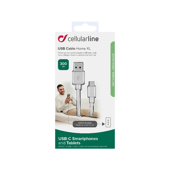 CELLULAR LINE Home XL - USB Type-C - Micro USB, Datenkabel/Ladekabel, 3 m, Weiß