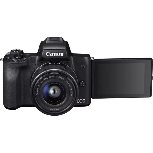 CANON EOS M50 Kit Systemkamera 24.1 Megapixel mit Objektiv 15-45 mm , 7.5 cm Display   Touchscreen, WLAN