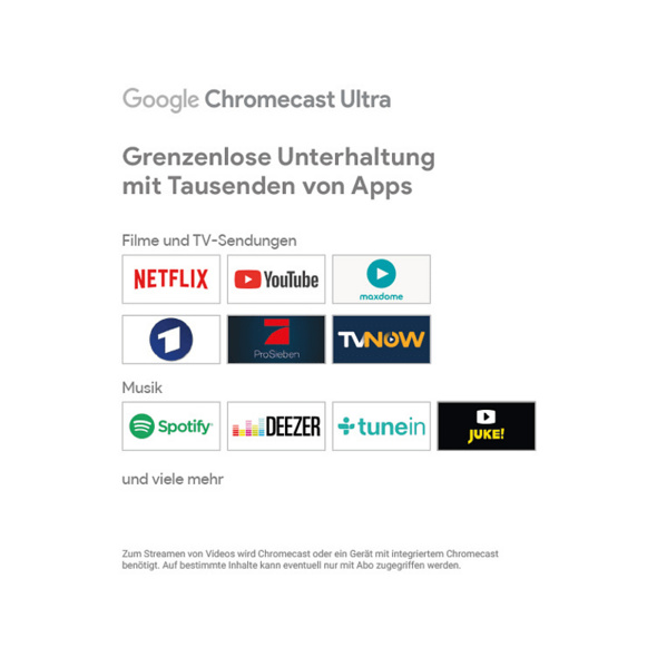 GOOGLE Chromecast Ultra Streaming Player, Schwarz