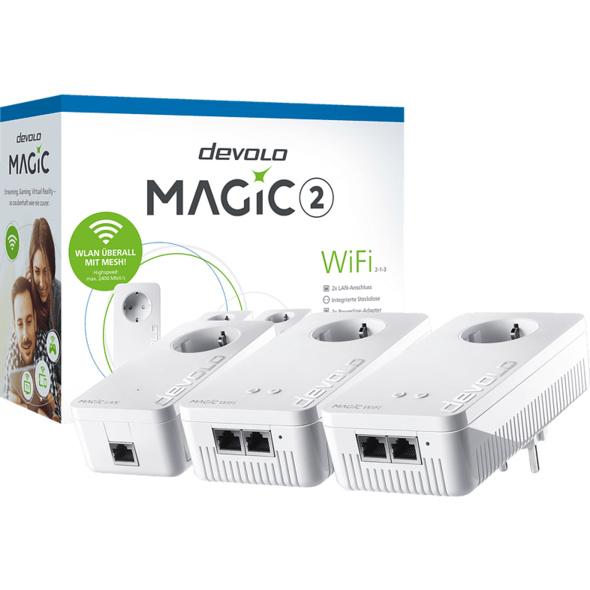 Powerline Adapter DEVOLO devolo 8391 Magic 2 WiFi 2-1-3 Multiroom Kit Powerline 2400 Mbit/s Kabellos und Kabelgebunden