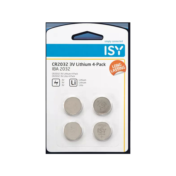 ISY IBA 2032 CR2032 3V Lithium 4-Pack Knopfzelle, silber