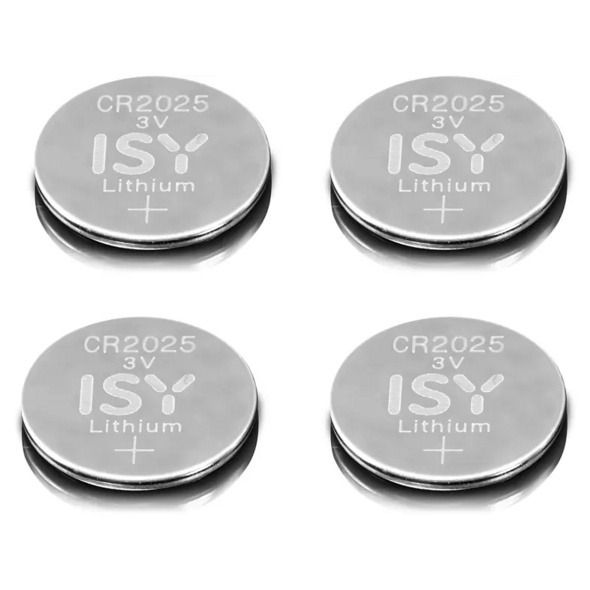 ISY IBA 2025 CR2025 3V Lithium 4-Pack Knopfzelle, silber