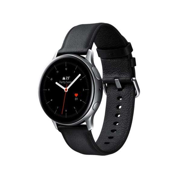 SAMSUNG Galaxy Watch Active2 Stainless Steel 40mm SI, Smartwatch, Echtleder, S/M, Silver