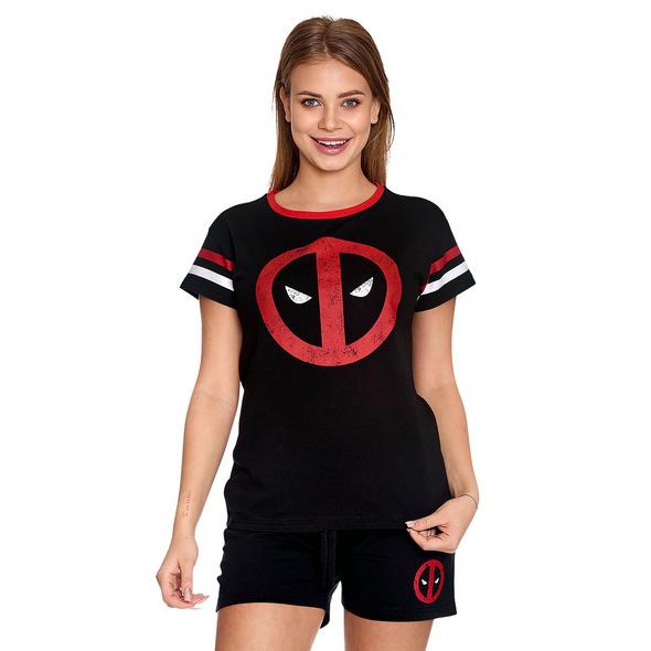 Deadpool - Logo Pyjama kurz Damen schwarz