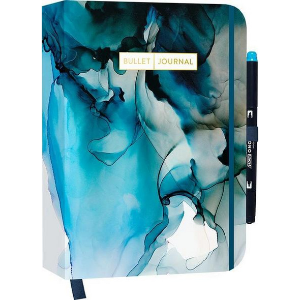 Bullet Journal 'Dramatic Watercolor' mit original Tombow MONO edge Dual-Tip Highlighter sky blue