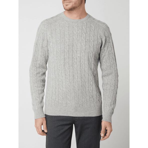 Pullover aus Lammwolle mit Zopfmuster