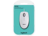 LOGITECH M100 USB Maus, kabelgebunden, Weiß/Schwarz