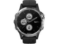 GARMIN Fenix 5 Plus, Smartwatch, Silikon, One Size / 22 mm, Silber/Schwarz