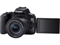 CANON EOS 250D Kit Spiegelreflexkamera, 24.1 Megapixel, 4K, Full HD, HD, 18-55 mm Objektiv (IS, STM, EF-S), Touchscreen Display, WLAN, Schwarz