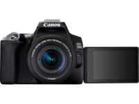 CANON EOS 250D Spiegelreflexkamera, 24.1 Megapixel, 4K, Full HD, 18-55 mm Objektiv (IS, STM), Touchscreen Display, WLAN, Schwarz