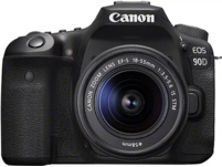 CANON EOS 90D + EF-S 18-55 mm IS STM Spiegelreflexkamera, 32.5 Megapixel, 4K, Full-HD, HD, 18-55mm Objektiv (EF-S), Touchscreen Display, WLAN, Schwarz