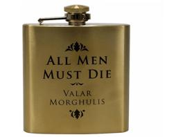 HALF MOON BAY Game of Thrones Flachmann All Men Must Die Flachmann , Goldfarben
