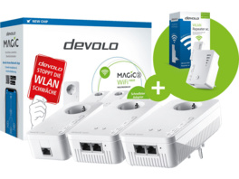 Powerline Adapter DEVOLO Magic 2 WiFi next Multiroom Kit + Wifi Repeater ac 2400 Mbit/s Kabellos und Kabelgebunden