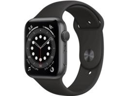 APPLE Watch Series 6 (GPS), 44 mm Aluminiumgehäuse Space Grau, Sportarmband Schwarz, Smartwatch, Fluorelastomer, 140 - 220 mm, Schwarz/Space Grau