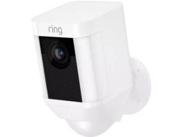 RING Ring Spotlight Cam (Akku) - weiß, kabellose, HD-Überwachungskamera, Licht, Sirene, Bewegungsmelder, 1080 Pixel, Weiß