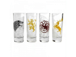 KLANGUNDKLEID.DE Game of Thrones Schnapsgläser 4er Set All Houses Merchandise, Transparent/Bedruckt