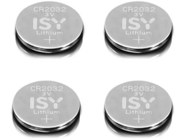 ISY IBA 2032 CR2032 3V Lithium 4-Pack Lithium-Knopfzelle CR2032 3V Knopfzelle, 3  Volt, 4 Stück