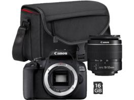 CANON EOS 2000D inkl. SB130 und 16GB Spiegelreflexkamera, 24.1 Megapixel, Full HD, HD, 18-55 mm Objektiv, WLAN, Schwarz