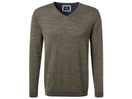 V-Neck Pullover in Doubleface-Optik - Regular Fit