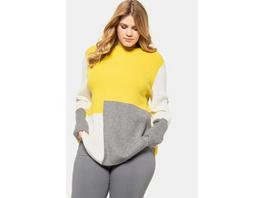 Ulla Popken Pullover, Colorblocking, Oversized, weicher Rippstrick - Große Größen