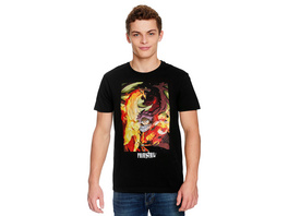 Fairy Tail - Natsu mit Igneel T-Shirt schwarz