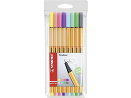 STABILO Fineliner point 88, 8er Set Pastellfarben