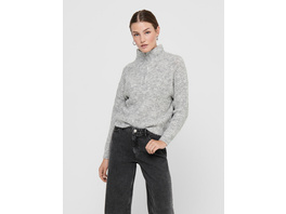 ONLY Rippbündchen Pullover mit Stehkragen und Reißverschluss
